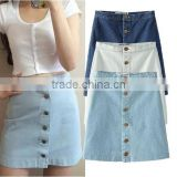 2016 hot selling jean skirts ladies stretch short denim skirt desings