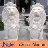 Norton pairs marble lion holding shield shop entrance decoration NTBM-L009L