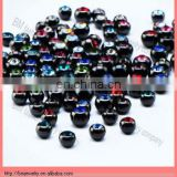 black titanium anodized balls with gems body piercing jewelry accessories wholesale good quality cheap