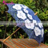 Wholesale 30'' Vogue Battenburg Lace Parasol Wedding Umbrella for Wedding Decoration in Navy Blue Color