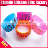 Wide Debossed with Color Filled Glitter Silicone Bracelet