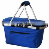aluminium sash tote folding basket for picnic or shopping