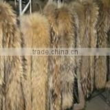 Wholesale real raccoon fur trim for hood