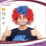 promotional two bright color world cup football sport afro wig