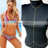 Sexy girl Bikini Crossover Waist Belt Belly Harness simple Body Chains