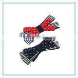 Latest hair clip design students stripe bowknot hair clips, dotted bow hair accessory