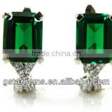 925 Sterling Silver Created Emerald Earrings Hot Gemstone Jewelry Semi precious stone Hong Kong