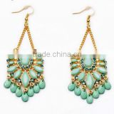 Trendy green beads Drop Earring Fashion Brincos Celebrity Acrylic Gold Dangle Earrings For Women Costume Jewelry Ethnic Jewelry