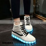 white hot sell LED light shoes adults casual sneakers fashion for women, cheap price LED shoes casual fashion flash light