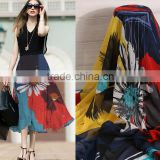75D printed chiffon beads bohemian beach dress big skirt fabric