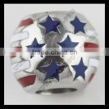 Custom stainless steel round flag beads