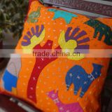 Patchwork Cushion Cover ,Handmade Village Theme Cushion Covers,,Hand Embroidery Cushion,Kids Bedding