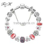 Promotional gifts snowflake murano glass beads charm bracelet wholesale