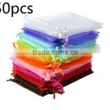 50pcs/lot 7*9cm Mix Colors Organza Drawstring Gift Bags Pouch Wrap for Party Wedding Gift Packaging Candy Bags