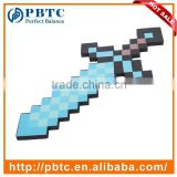 Kids Game Cosplay Toy Blue Pixel Weapon EVA Foam Diamond Sword