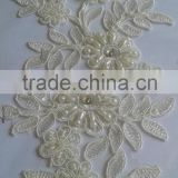 Floral Motif Applique Wedding Lace/wholesale rhinestone and pearl beaded applique ornaments lace flower/Stone crochet lace