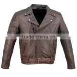 Mens Brown Antique Leather Padded Motorcycle Jacket