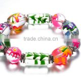Kid Christmas Stretch Bracelet With Animal hand painted Glass Bead,glass beads handmade bracelets