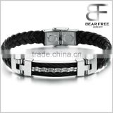 Genuine Pu Leather Men's Bracelet Stainless Steel Braid Wristband Bangle Men's Gift