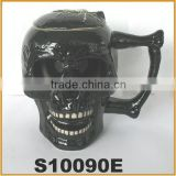 skull head design ceramic beer steins with lid new beer mug
