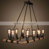 China wholesale basic floor stand beautiful design hemp rope chandelier lamp
