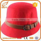 Wholesale women fedora dressy hats church style brown and red felt hat                                                                                                         Supplier's Choice