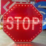 Outdoor solar road safety flash led stop parking sign