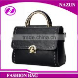 Wholesale Handmade Cross Body Handbags Hard Black pu Leather Shoulder messenger bag for women