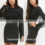 HP680050 dongguan beautiful girl long sleeve black fringe bandage dress
