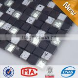 ZTCLJ JTC-1318 Silver Travertine and Glass Mosaic Mix Black Slate Stone Mosaic Bathroom Tiles