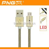 PNGXE High quality fast charging micro usb cable for iphone 6 charger cable with usb led light magnetic usb cable