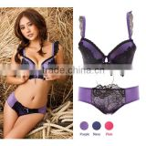 Hot Sale Ladies Nylon Bra and Panties Set, Lace Seamless Bra and Panties Set, lady sexy push up bra