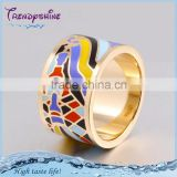 Latest design stainless steel artificial enameled big gold ring