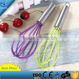 Stainless Steel Silicone Wire Egg Whisk,Manual egg beater for cookware,Non-Stick Colorful Egg Mixers