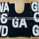 women black netball racing bibs with name