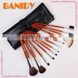 Group-buying Red Wood Professional Makeup Brush Set 12 pcs Cosmetic Bruhs Set With Roll Case