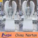 Hand carved white marble guardian angel headstone NTGT-439A