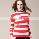 OEM ladies fashion long sleeve high neck stripe knitting woman pullover sweater for winter