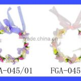 FGA045 Yiwu Lovebaby Kinds Of Color Plastic Small Flowers Splicing Wreath And Lace Ribbon Headbands For Baby Girls Wear
