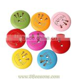 "Wood Painting Sewing Buttons Scrapbooking Round 2 Holes Mixed Sewing Kit Pattern Print 20mm( 6/8"") Dia,100PCs,Bulk"