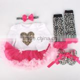 Baby plain white leopard valentines romper with headband set M5040330