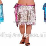 Wholesale Silk saree wrap skirts-Indian Silk Sari Magic Wrap Skirts Indian Printed Wrap Around Skirt115