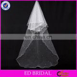 A18 Stunning Pearl Beaded 2 Layers Customized Tulle Fabric Wholesale Bridal Veil Long