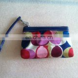 Lady Women Blue Multicolored Satin Wristlet Wallet