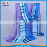 New expecial style factory custom tartan design ladies peach silk scarf