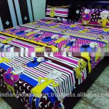 Beautiful Kids Special Multicolour Cotton Motu Patlu Cartoon Double Bed Sheet With 2 Pillow Covers(90*90 Inches)