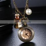 Wholesale Vintage Quartz Watch, Free Shipping Pocket Watch with Alloy Chain and Rabbit Header Wishing Bottle Pearls