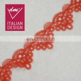Top quality embroidery red lace for wedding dress