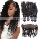 8A virgin hair deep wave wholesale hair salon bundles with lace closure