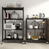 Multifunctional Foldable Metal Rack Kitchen Storage Shelf Home Free Installation Stand Shelf